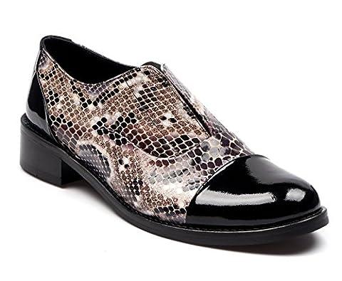 BOBERCK Miranda Collection Women's Oxford Leather Shoes (8 US, Black Snake Beige)