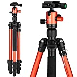 "Trípode Camara Mactrem CT62 Carlsbad 62,5"" Ligero de Aluminio, Desmontable Monopod, Cabeza de 360 Ball, Quick Release Plate & Carry Case para Cámaras DSLR Video Digital - 33lbs MAX Load (Naranja)"