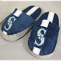 Seattle Mariners Youth Kinder Team Stripe Plush Slippers