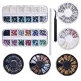 9 scatole Nail Art con strass set per decorazioni nail art, Misto Dimensioni Unghie Perline Glitter Strass Pietra Oro Metallo Borchie Irregolare 3D Nail Decorazione 1 pinzette e 1 penna per manicure