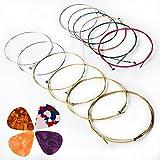 Akustikgitarre Gitarrensaiten von Kinbom, 2 Sets von 6 Gitarrensaiten, 1 Set auf Gold- und Silberpackung und 1 Set auf Farbmischung Packung (Geschenk: 4 Plektra)