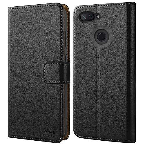 HOOMIL Cuero Premium Funda para Xiaomi Mi 8 Lite Carcasa (Negro)