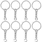 100 Stück Schlüsselringe Split Schlüsselanhänger mit Kette und öffnen Jump Rings, Silber