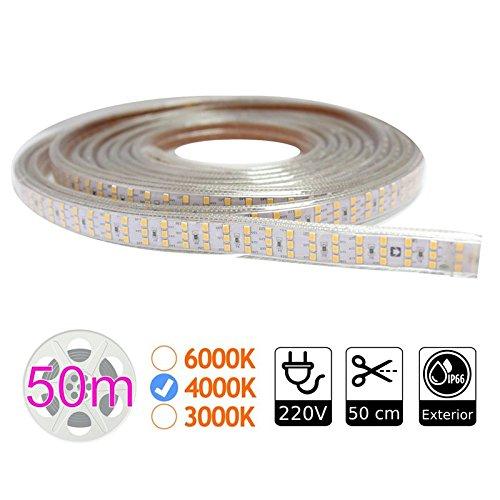 Jandei - tira de led 220V triple 4000K 276 led metro bobina 50m exterior
