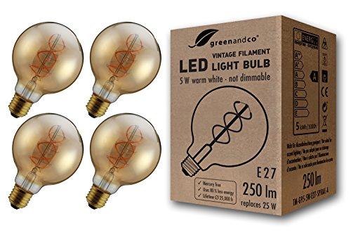 4x greenandco® Ampoule à Filament LED Vintage E27 G95 5W (équivalent 25W) 250lm 2000K (blanc chaud) 360° 230V Verre, aucun scintillement, non-gradable