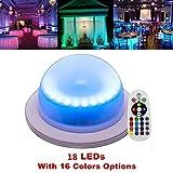 Ardux 18luci LED ricaricabile impermeabile decorazione di base a LED con telecomando 16colori colori cangianti per sotto tavolo festa evento compleanno per esterni ed interni