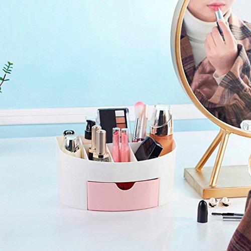 Tiroir cosmétique Covermason Tiroir de Rangement Bureau Maquillage Cosmétique Supports Boîte économiser de l'espace (22X14X11 cm, Rose)