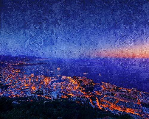 SINABC Diamond Painting Set Full Groß Mosaik Formel 1 Nacht Monaco Landschaft Runder Bohrer Handwerk Hobbies Bilder Leinwand Einzigartige Kunst Geschenk Raumdekoration Frameless 40X50Cm