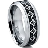 Ultimate Metals Co. Titanium Men's Carbon Fiber and Masonic Freemason Ring Band 8mm