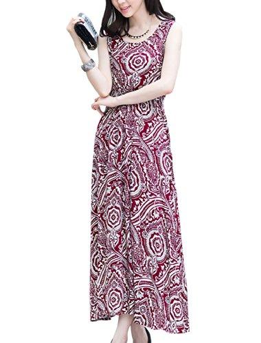 Lady Col Rond Sans Manche Taille Élastique Fleur Impressions Robe Bordeaux