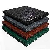 etm® Fallschutzmatte für Außenbereich | Unterseite mit Drainage | Größe 50x50 cm | TÜV geprüft | Fallschutz mit Stärke 25 oder 43 mm | Grau (25 mm)