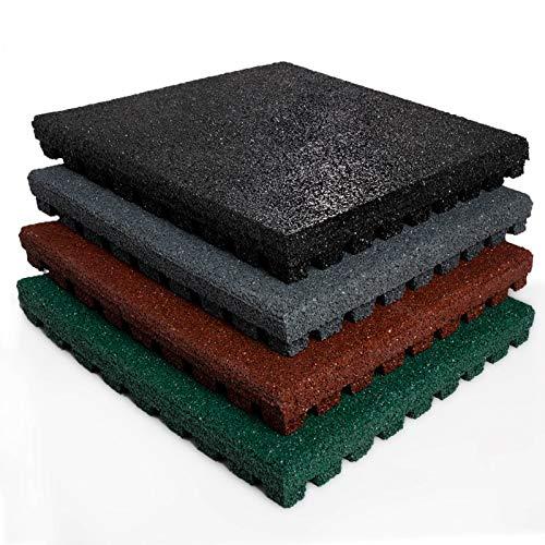 e für Außenbereich | Unterseite mit Drainage | Größe 50x50 cm | TÜV geprüft | Fallschutz mit Stärke 25 oder 43 mm | Grün (25 mm) ()