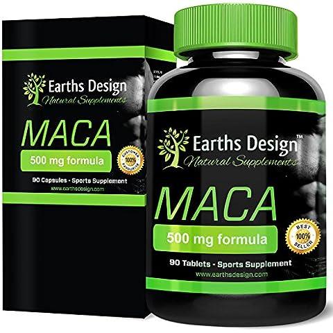 Earths Design Puro estratto di radice di Maca, favorisce la fertilità e la buona salute riproduttiva, aumenta la libido in uomini e donne, prodotto nel Regno Unito, 90 capsule da 500 mg
