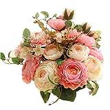 Fleur Artificiel,Fleurs Artificielles Decoration Mariage Fausse Roses Bouquet de Fleur Centre de Table pour Decoration Cuisine Maison Jardin Fête