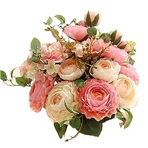 KIRIFLY Flores Artificiales,Plantas Artificiales Ramo Flores Hortensia Rosas Casa Jardin Cumpleaños Boda Fiesta…