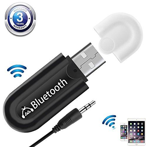 USB Bluetooth Empfänger Aux Audio Adapter [Zwei Audio ausgänge] für Stereoanlage Heim HiFi Auto Lautsprecher kopfhörer Musikstreaming-Soundsystem mit 3.5mm Aux Kabel, A2DP,AVRCP