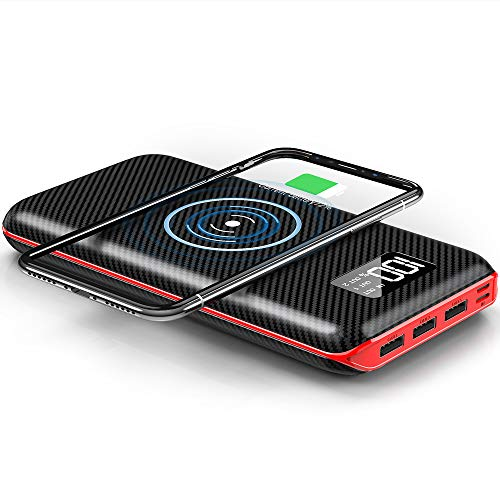 848dff89d6d KEDRON 24000mAh Power Bank, Cargador Inalámbrico Portátil Batería Externa  para Android/iOS Phones,