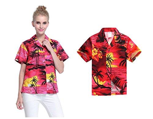 3710984c3 Camisa hawaiana a juego del muchacho de la camisa de las mujeres de Luau  del hijo de la madre Puesta de sol roja XL-16