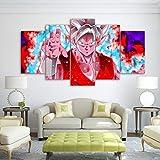WLQQ Drucke Auf Leinwand 5 Stück Moderne Gemälde Goku Dragon Wandkunst Bilder Wohnkultur Für Wohnzimmer Dragon Ball Kein Rahmen Nur Leinwand,A,40x60x2+40x80x2+40x100cmx1