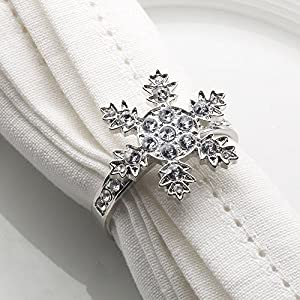 Silver Snowflake Napkin Rings - 27 Diamantes ideal for Christmas - set of 4