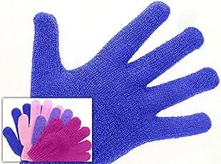 Peelinghandschuh (1 Paar) für intensives Peeling und Massage, trocken oder nass anwendbar, Blau