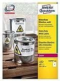 Avery Zweckform Étiquettes film L4775résistant aux intempéries (210x 297mm)–100feuilles A4Blanc Lot de 100