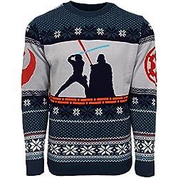 Official Star Wars Luke Vs Darth Christmas Jumper/Ugly Sweater - UK M/US S