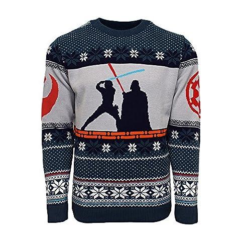 Official Star Wars Luke Vs Darth Christmas Jumper / Ugly Sweater - UK M / US S (M Und S Christmas Jumper)