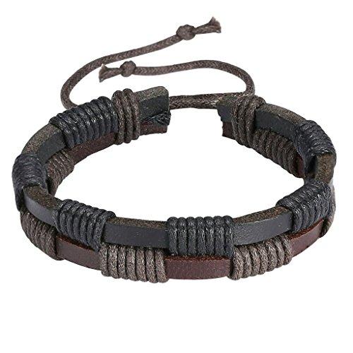 Bishiling Schmuck Leder Armband Damen Geflochtene Damenarmband Lederband Verstellbar Armbänder Braun Schwarz (Leder Neue Buffalo)