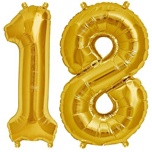 Zahl 18 Set in Gold - XXL 102cm – Folienballons für Luft oder Helium als Geburtstag Geschenk, Party Dekoration oder Überraschung (Gold Helium-ballons)