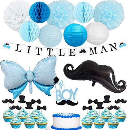 Jollyboom Little Man Baby Shower Dekorationen für Jungen Little Man Banner Schnurrbart Fliege Ballons Oh Boy Cake Topper für Schnurrbart Baby Shower Birthday Party Decor