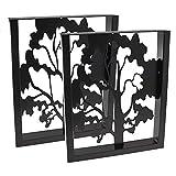 2 x Tischgestell in U Form schwarz Pulverbeschichtet mit Baum Silhouette Dekoration Deko Esstisch Home