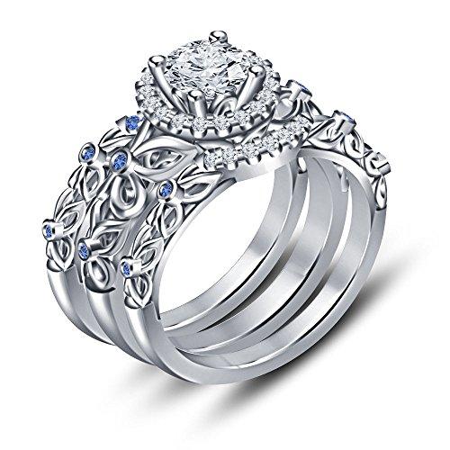 Vorra Fashion Weiß Platiniert in 925Silber Saphir blau Disney Princess Engagement Ring (Princess-ring Disney Blau)