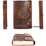 Jaipuri Haat Premium quality Leather Diary Journal Antique Embossed Tree alongwith Pure recycled organic Handmade Paper (23*13CM) 180 Pages