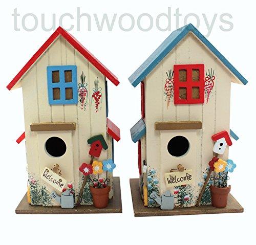 Wooden bird box decorative bird house (Red) 1