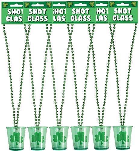 6 x St Patricks Tag Shot-gläser Neuheit Irisches Kleeblatt Trink Glas mit Halskette