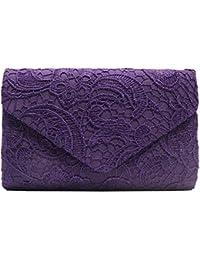 722ade18ae3 Cckuu Womens Elegant Floral Lace Envelope Clutch Bag Purse Handbag Wedding  Party