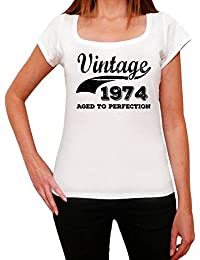 Vintage Aged To Perfection 1974, tshirt femme anniversaire, femme anniversaire tshirt, millésime vieilli à la perfection tshirt femme, cadeau femme t shirt