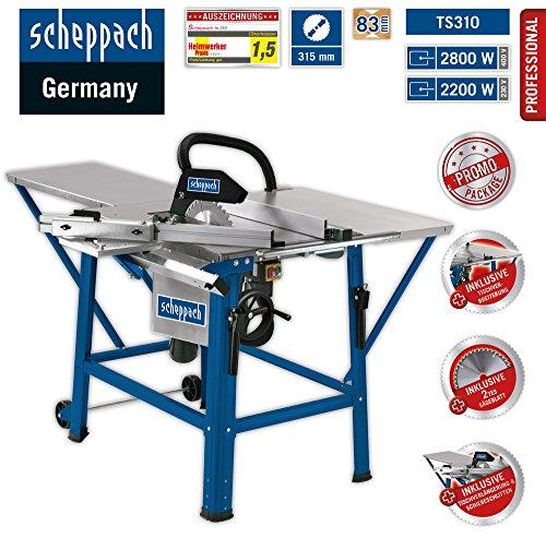 Scheppach Tischkreissäge TS310 (2200 W, Sägeblatt- Ø315mm, Schnitthöhe 83 mm...