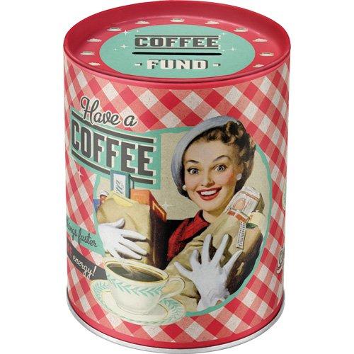 Say it 50's - Have A Coffee | Retro Spardose | Spar-Büchse | Geld-Dose | abnehmbarer Deckel | Metall (Metall-buchsen)