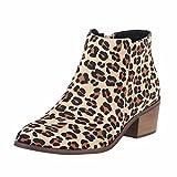 QIN&X Frauen Schuhe Kurze Stiefel Farbe Größe Scharfe Rauhe Ferse Reißverschluss, Leopard Muster, 41
