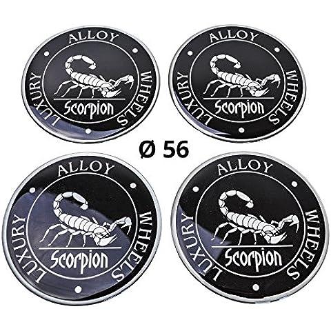 4x Silicona/Emblema para tapas de buje | Diseño de etiqueta: Escorpión, diámetro: 56mm