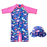 Enfants Fille Combinaison de Natation Maillot de Bain de Plongée Protection Anti-UV et Contre le soleil SPF50+ avec Bonnet de Bain