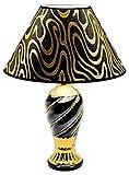 NEU ANKUNFT SCHÖNE Keramik Schwarz & Golden Tischlampe