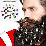 12 ornements colorés de barbe de Noël de PCS, agrafe ronde de boules de poils faciaux agrafe de clochettes de barbe pour le papa, le père noël, cadeau de père de barbe de Noël - couleur 2CM aléatoire