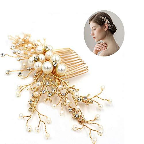 roroz Hochzeit Haarspangen für Braut, Braut Side Clip, Braut Haar Tiara Haar Kamm, 2019 Pearl Stirnband Zubehör Golden,Gold - Kleine Kamm Der Tiara
