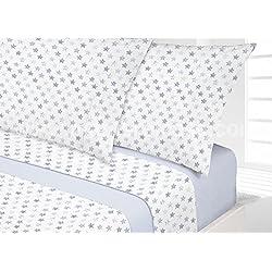 Manterol.- Juego de sábanas estrellas para cama de 90 cm 3 piezas (Azul)