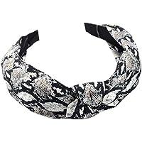 Longsw - Turbante de pelo trenzado de cocodrilo para mujer, diseño de leopardo con nudos