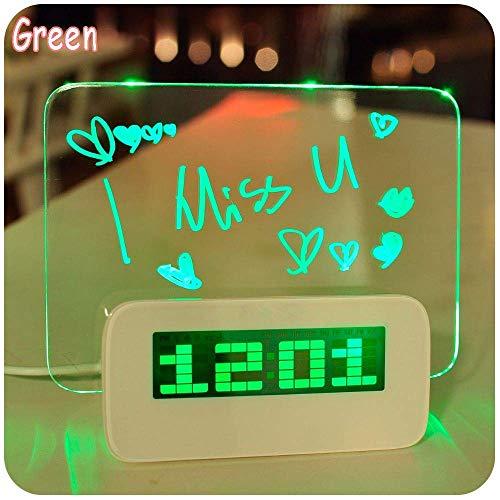 Message Board Alarm Clock, LED Light Fluorescent Message Board/Temperature/Timer/geeignet für Schlafzimmer, Wohnzimmer, Studium, Büro,Green