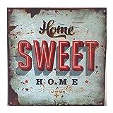 LB H&F Blechschild Blech Schild Metallschild Nostalgie Retro Home Sweet Home türkis (Home)